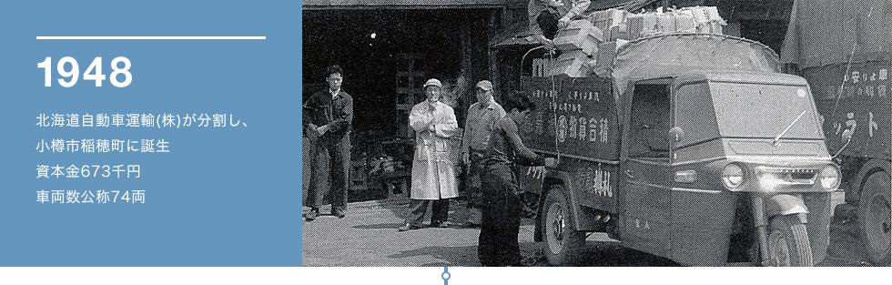 1948 北海道自動車運輸(株)が分割し、小樽市稲穂町に誕生資本金673千円車両数公称74両